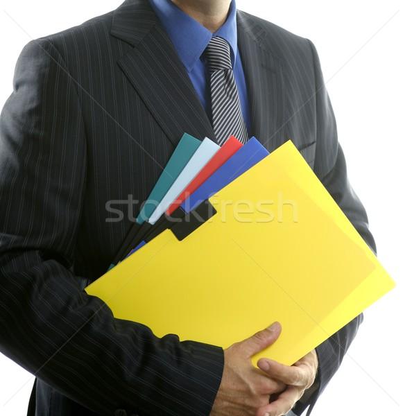 Foto stock: Empresario · color · carpetas · blanco · amarillo · estudio