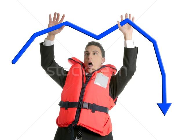 Businessman sinking in crisis, lifejacket metaphor Stock photo © lunamarina