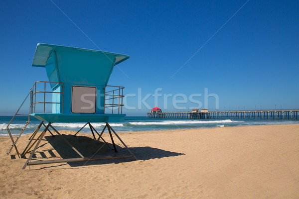 Plaży molo surfowania miasta USA ratownik Zdjęcia stock © lunamarina