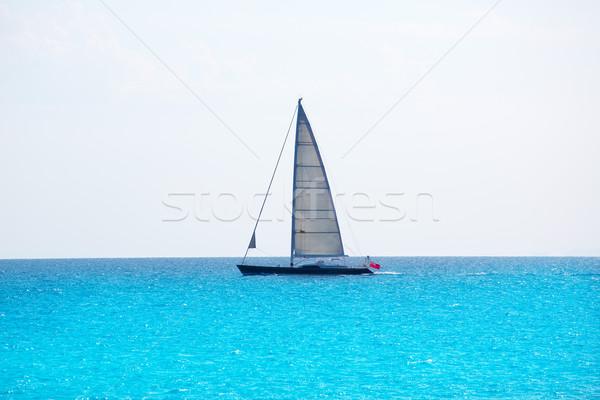 Sailboat sailing in balearic islands turquoise Mediterranean Stock photo © lunamarina