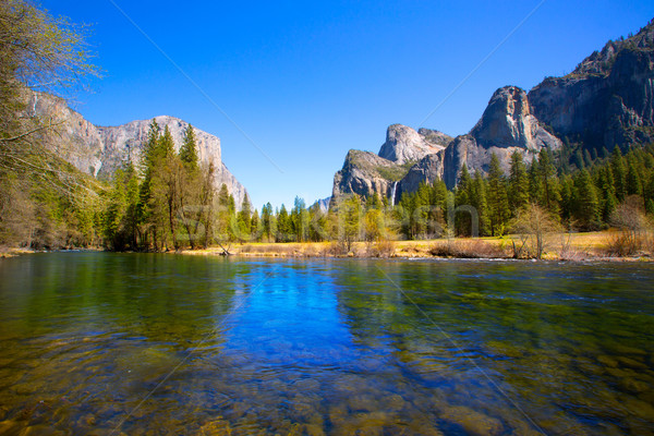 Stock photo: Yosemite Merced River el Capitan and Half Dome