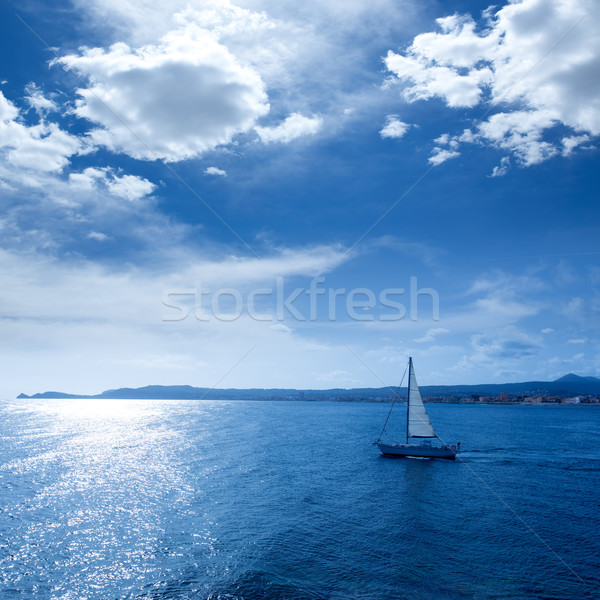 Javea Xabia morning light sailboat in Alicante Stock photo © lunamarina