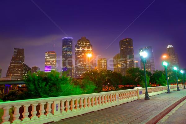 ヒューストン スカイライン 日没 テキサス州 米国 橋 ストックフォト © lunamarina