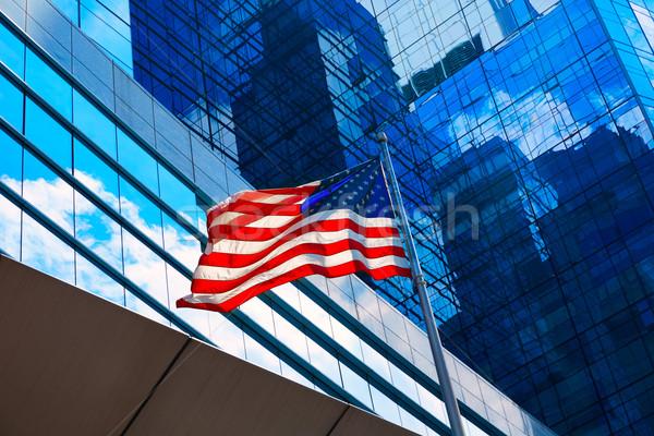 американский флаг Бостон центра Массачусетс США путешествия Сток-фото © lunamarina