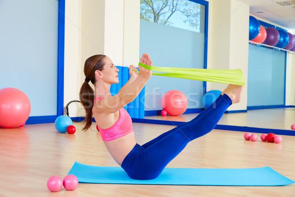 Pilates mulher elástico exercer exercício ginásio Foto stock © lunamarina