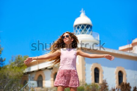 Blond tourist Statue of Liberty wind in hair NYC Stock photo © lunamarina