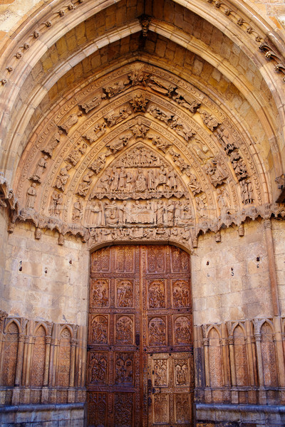 Stock photo: Cathedral of Leon carved door in Castilla Spain