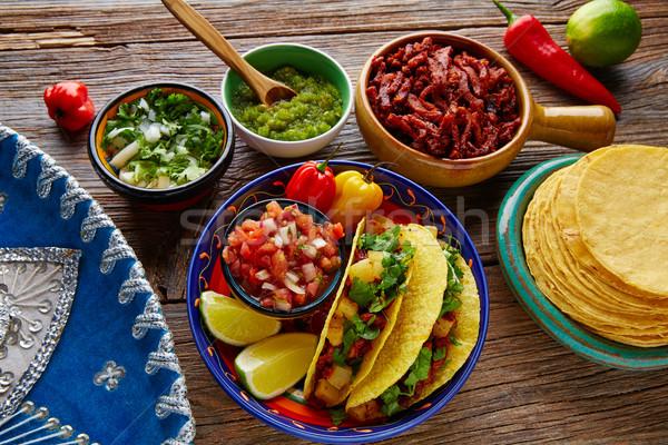 Tacos mexicano coentro ananás pimenta Foto stock © lunamarina