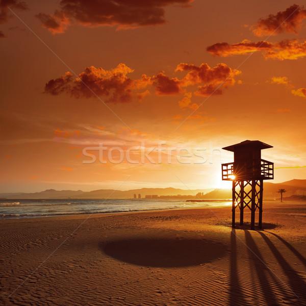 Stockfoto: Strand · zonsondergang · Valencia · middellandse · zee · Spanje · water
