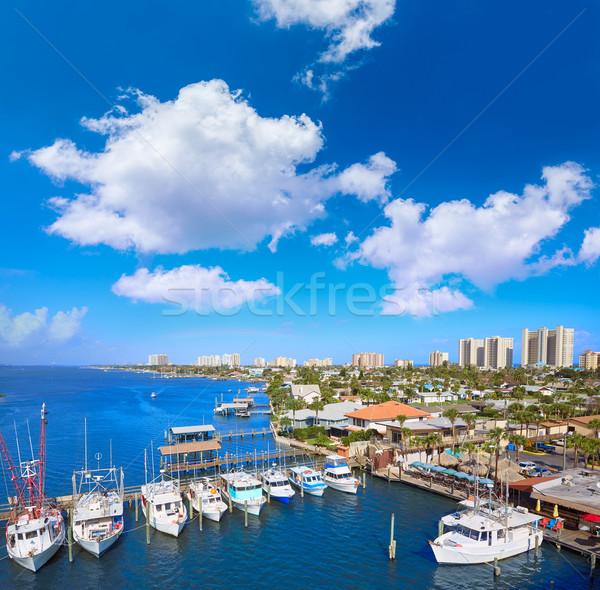 Zdjęcia stock: Plaży · Florida · portu · pomarańczowy · antena · marina
