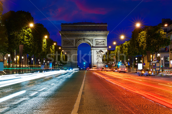 Diadalív Párizs ív diadal naplemente Franciaország Stock fotó © lunamarina
