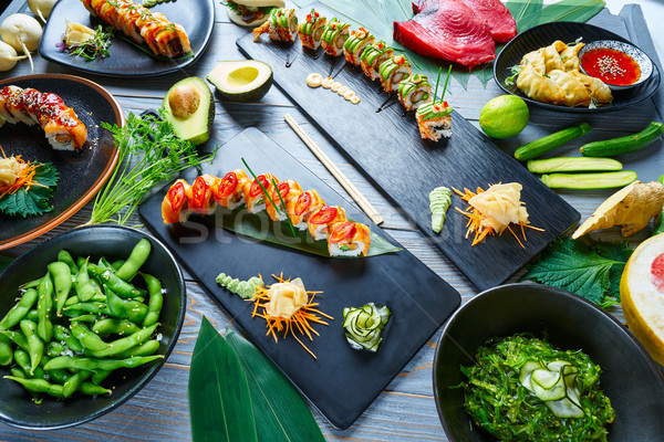Stock photo: Asian Japan Sushi varied recipes with algae