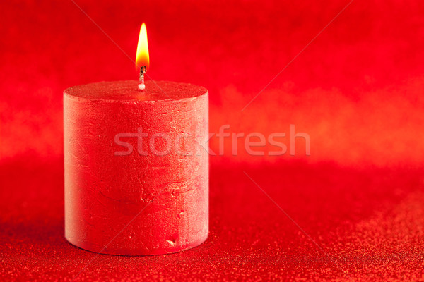 christmas candle candlelight on red glitter Stock photo © lunamarina