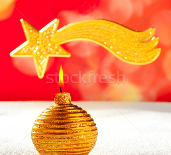 Christmas golden candle and bethlehem star Stock photo © lunamarina