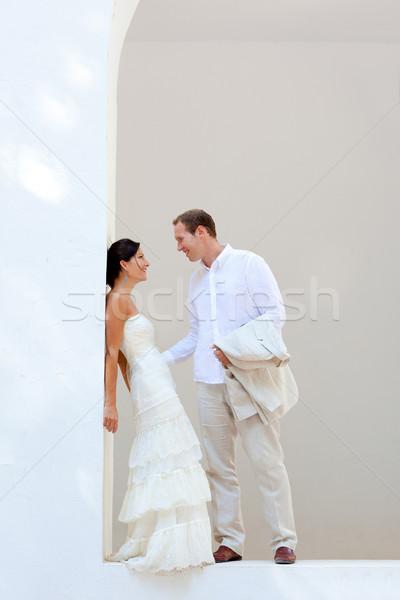 Stock fotó: Menyasszony · pár · friss · házasok · mediterrán · lány · esküvő