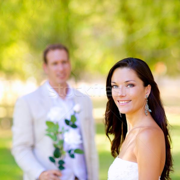 Stock fotó: Pár · friss · házasok · férfi · tart · virágok · kéz