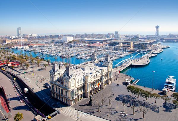 Aerial Barcelona port marina view Stock photo © lunamarina