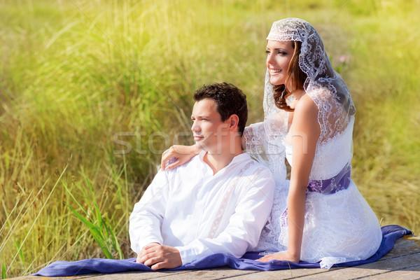 Couple mediterranean wedding day fashion in outdoor Stock photo © lunamarina