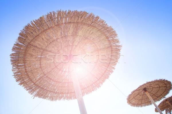 Kunyhó esernyő aszalt fű becsillanás háttérvilágítás Stock fotó © lunamarina