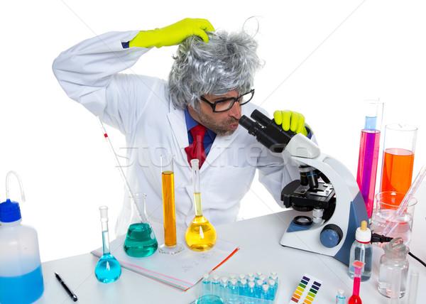 őrült őrült stréber tudós laboratórium mikroszkóp Stock fotó © lunamarina