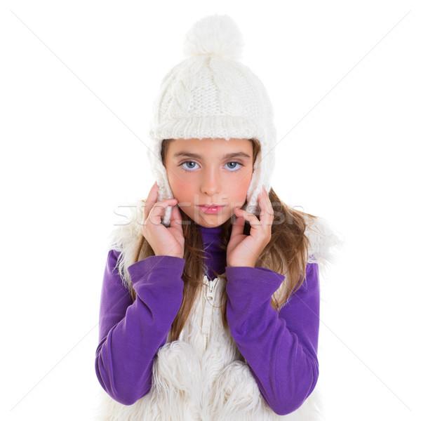 Kék szemek gyermek gyerek lány fehér tél Stock fotó © lunamarina