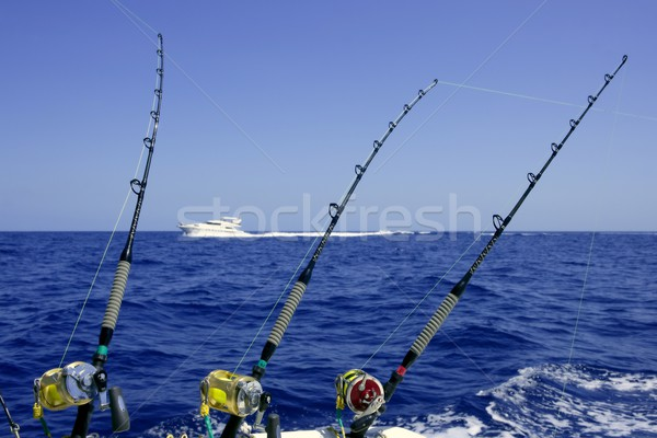 Blue sea and sky in a big game tuna fishing day Stock photo © lunamarina