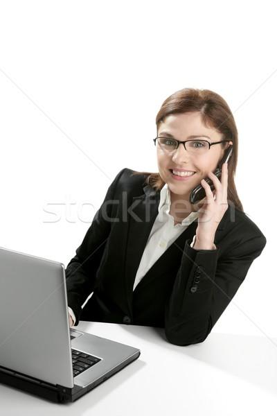 Stock fotó: üzletasszony · laptop · beszél · mobiltelefon · boldog · telefon