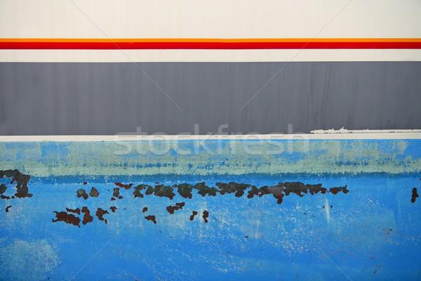 Aged grunge boat iron rusty blue hull Stock photo © lunamarina