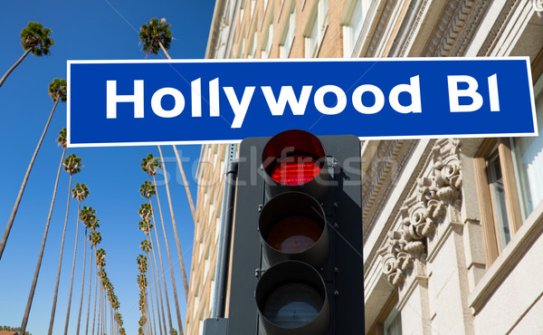 Hollywood Boulevard sign illustration on palm trees Stock photo © lunamarina