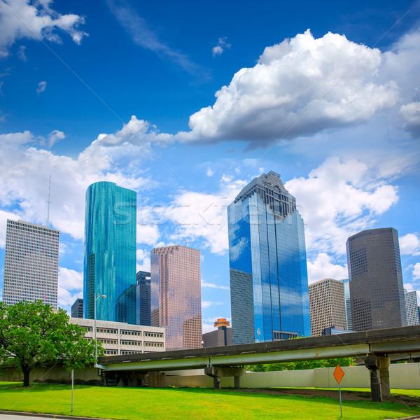 Houston Texas sziluett modern kék ég kilátás Stock fotó © lunamarina