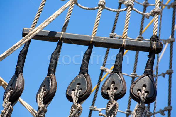 Vintage wooden boat pulley and ropes detail Stock photo © lunamarina
