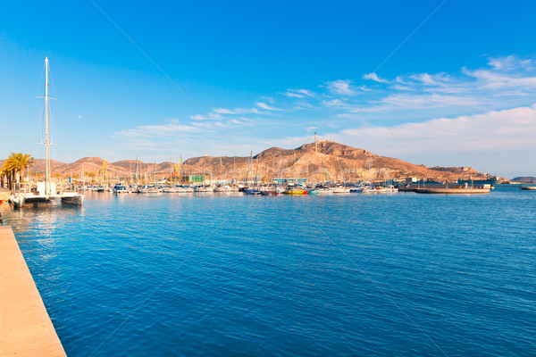 Cartagena port in Murcia at Spain Mediterranean Stock photo © lunamarina
