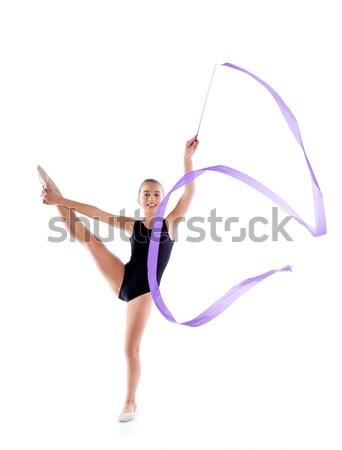 Gyerek lány ritmikus torna fehér tánc Stock fotó © lunamarina