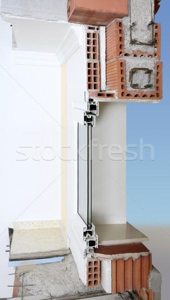 фасад стены поперечное сечение реальный кирпичных блоки Сток-фото © lunamarina