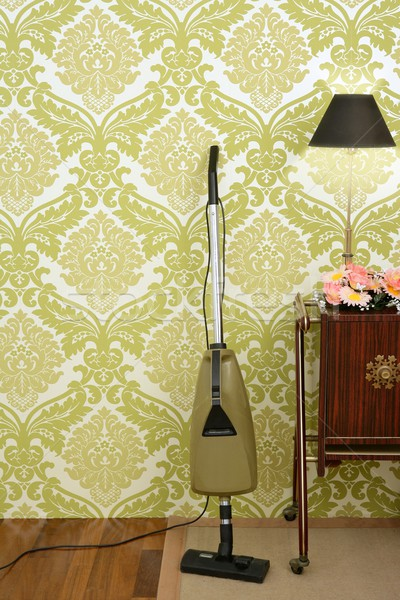 Rétro aspirateur vintage sixties wallpaper chambre Photo stock © lunamarina