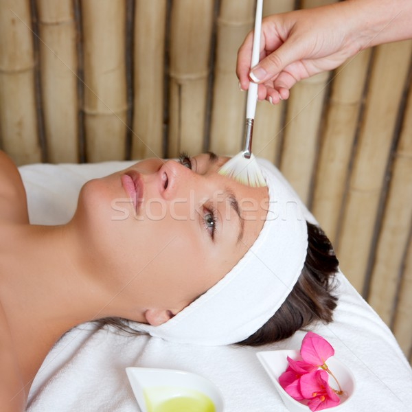 spa beauty facial treatment oil brush and flowers Stock photo © lunamarina