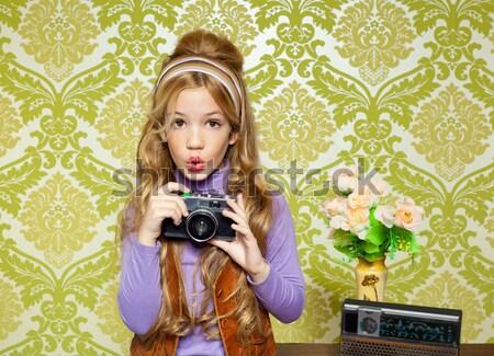 Retro tükör smink nő rúzs klasszikus Stock fotó © lunamarina