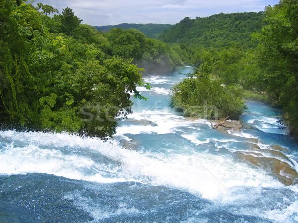 Agua Azul waterfalls blue water river in Mexico Stock photo © lunamarina