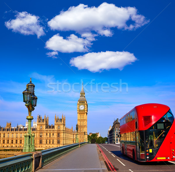 Big Ben horloge tour Londres bus Angleterre Photo stock © lunamarina