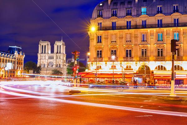 Paris Place de Saint Michel St sunset Stock photo © lunamarina