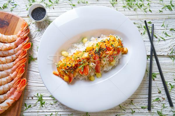 Fruits de mer rouge étriller crevettes alimentaire Photo stock © lunamarina
