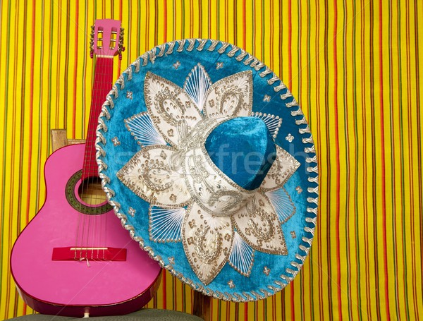 mariachi embroidery mexican hat pink guitar Stock photo © lunamarina