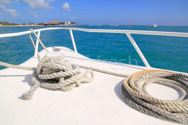 Foto d'archivio: Barca · bianco · arco · tropicali · Caraibi · mare