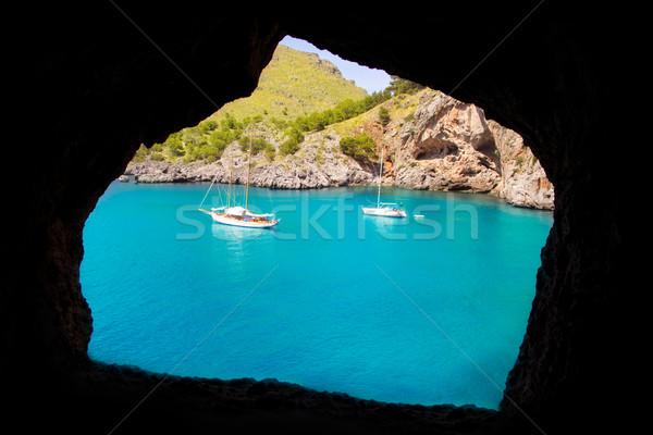 Escorca Sacalobra beach view from cave window Stock photo © lunamarina