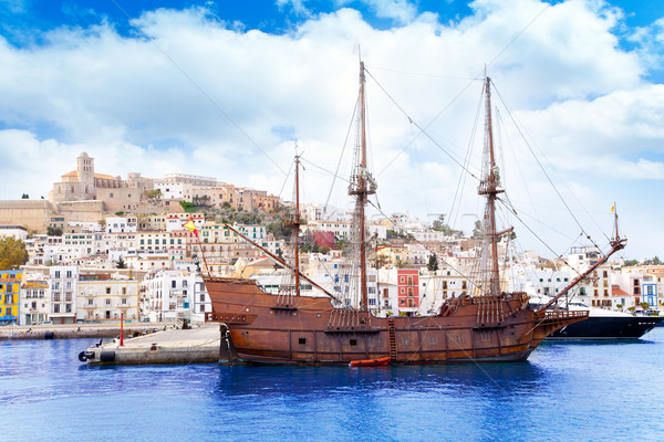 Eivissa ibiza town with old classic wooden boat Stock photo © lunamarina