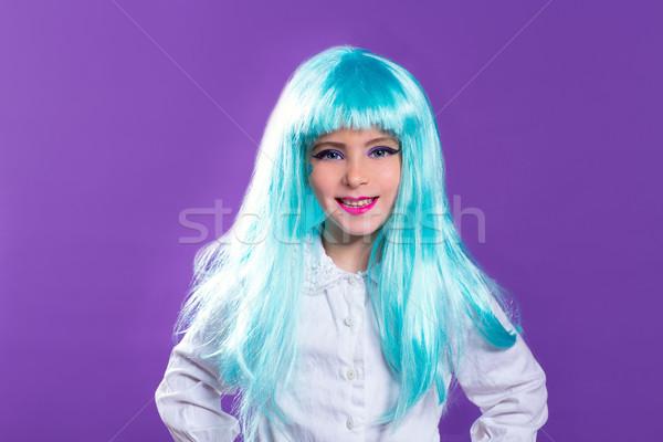 Dzieci dziewczyna niebieski długo peruka turkus Zdjęcia stock © lunamarina
