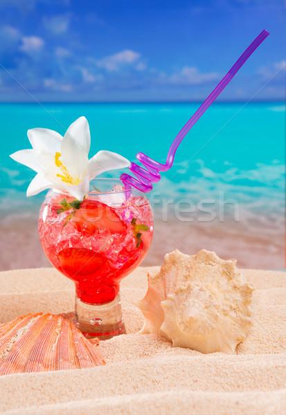 Praia tropical vermelho coquetel caribbean areia branca Foto stock © lunamarina