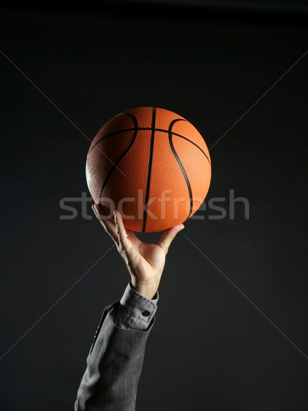 ストックフォト: ビジネスマン · バスケットボール · ボール · チームワーク · リーダーシップ · メタファー