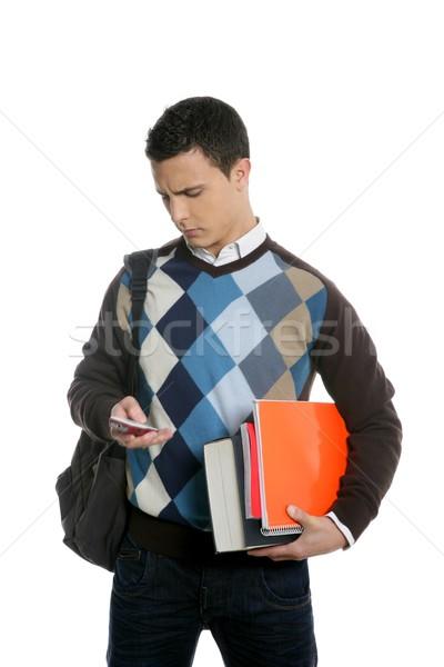 Сток-фото: студент · сумку · телефон · книгах · школы · изолированный