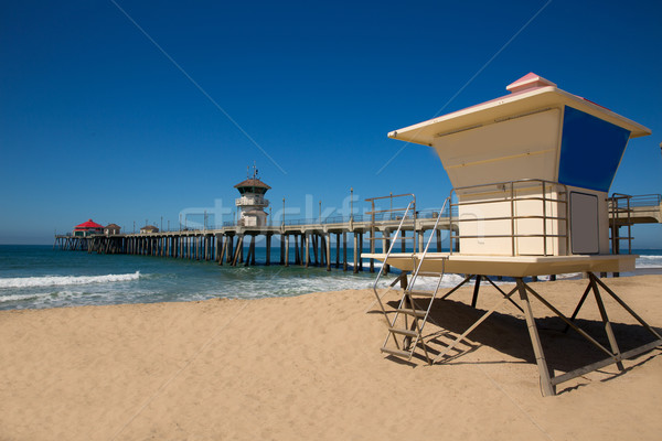 Huntington beach Pier Surf City USA with lifeguard tower Stock photo © lunamarina